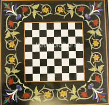 """24"""" Black Marble Square Chess Table Top Antique Marquetry Inlay Home Decor"""