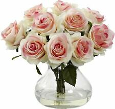New! Nearly Natural 1367 Light Pink Roses Bouquet Flowers Arrangement Glass Vase