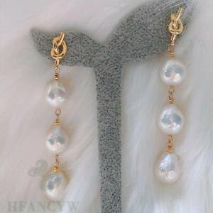 White Baroque Pearl Long Section Earring 18k Ear Stud Irregular Accessories Gift