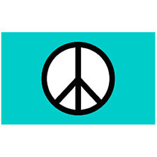 Flg002 - Green Peace Symbol Flag 3x5 foot poly with grommets / climate eco