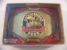 NIB Moosehead Canadian Lager Beer Belt Buckle New Old Stock 1980 Raintree MINT
