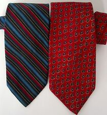 Polo Ralph Lauren Tie Lot of 2 Ties Red Blue Striped Red Paisley Mens