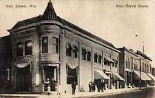 NEW LISBON, WI ~ POST OFFICE BLOCK & OTHER STORES, REAL PHOTO PC ~ used 1910