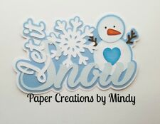 CRAFTECAFE MINDY LET IT SNOW DIECUT premade paper piecing TITLE scrapbook page