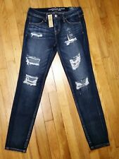 American Eagle Super Low Jegging Jeans Size 12 Long Destroyed Super Stretch NWT