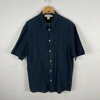 H&M LOGG Mens Button Up Shirt XL Blue Short Sleeve Collared Linen Blend