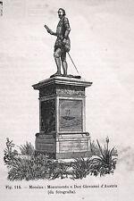 SICILIA MESSINA STATUA MONUMENTO DON GIOVANNI D'AUSTRIA stampa antica 1893