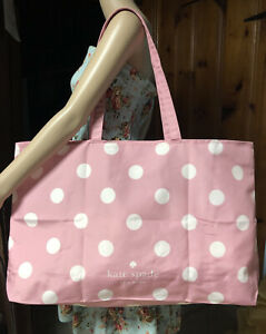 Kate Spade Extra Large Cotton Beach Shop Reusable Tote Bag Pink Polka Dot New