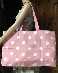 Kate Spade Extra Large Cotton Beach Shop Reusable Tote Bag Pink Polka Dot New