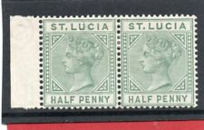 St.Lucia Vic. 1883-86 1/2d dull green pair sg 31 HH.Mint