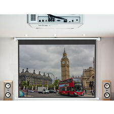 "72-120"" Electric Projector Screen Motorised Matte White HD 16:9 School Cinema UK"
