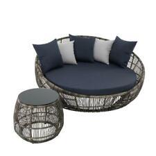 Rattan Sonneninsel Beistelltisch Tisch Gartenmöbel Set Gartenlounge Liegeinsel