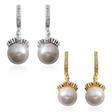 PEARL SIMULATED PEARL SIMULATED DIAMOND SET OF 2 HUGGIE EARRINGS PIERCED EARS