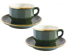 APILCO vert et or tasses à café et soucoupes x 2-Bistro Français Ware
