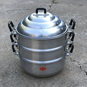 Vintage 26cm Steamer Pot Thai Aluminium Fish Lobster Rice Diamond brand 3tier
