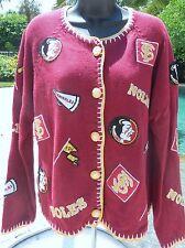 Florida State University FSU Seminoles Embroidered Patch Sweater-EUC