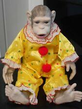 """15"""" Porcelain Ape Monkey Clown Suit Doll Circus"""