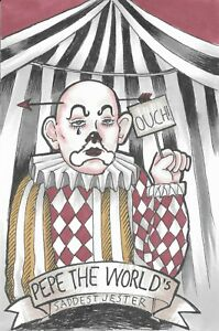 Sad Clown Vintage Circus Funny Dark Black and White - Original 4x6 Ink Drawing