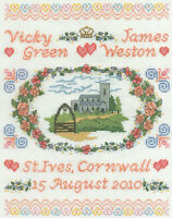 14ct Cross Stitch Kit - DMC Church Wedding Day Sampler - 20x25cm Personalise