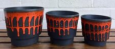 WEST GERMAN -FAT LAVA ROTH KERAMIK- 3x BLACK VOLCANO FLAME PLANTER POT VASE SET