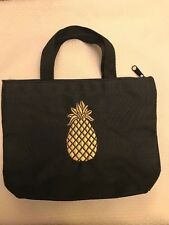 D.A.R. Black Canvas Small Tote Bag with Gold Metallic Pineapple