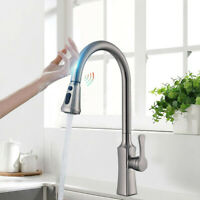 Automatic Touch Sensor Kitchen Faucet Swivel Pull down Sprayer Stainless Steel