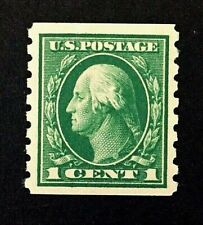 US Stamps, Scott #412 1912 vert coil, M/NH XF. Beautiful centering and balance.