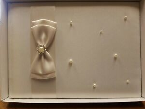 """8.5"""" Ivory Pearl Guest Book By Lillian Rose,  Ivory Pearl Wedding Guest Book"""