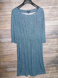 Lands End 1X 16W 18W Blue Print Shift Dress 3/4 Sleeve Midi Stretch Knit Scoop