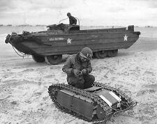WWII Photo German Goliath Utah Beach US Navy Engineer DUKW D-Day  WW2 B&W / 1317