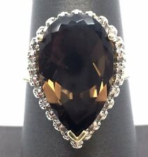Sterling Silver 925 Gold Tone Pear Smoky Topaz Diamond Halo Cocktail Band Ring