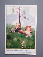 R&L Postcard: Comic, Albert Carnell, 1920's Valentine's, Smoking Boy