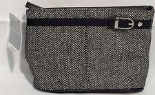 Yankee Candle Co. BLACK & WHITE HERRINGBONE ZIPPERED CLUTCH Make-up Cosmetic Bag