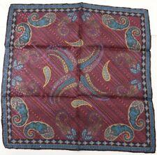 "New SANTOSTEFANO Black Purple Green 12"" Silk Pocket Square Handkerchief NWT $150"