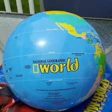 Vintage 1999 NATIONAL GEOGRAPHIC ~ WORLD Beach Ball Water Toy  Inflatable Globe