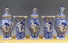 Antique Dutch Delft 5-Piece Garniture Landscape + Hunter + Dog 19TH C. Marked