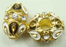 Clover Faberge Egg Bead Drip Gum Lime Clear Crystal Fit sterling 925 Bracelet h7