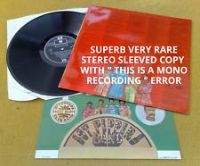 "BEATLES "" SGT PEPPER "" SUPERB UK STEREO MONO RECORDING ERROR SLEEVED COPY"