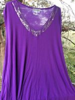 SALE @ Nearly New ULLA POPKEN Purple Silver Shirt Top Blouse Womens Sz 3X 28 30