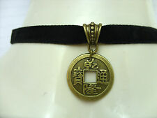 A Black 10mm Flat Velvet Cord Choker Necklace Chinese Feng Shui Lucky Coin Charm