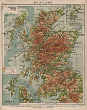 1938 MAP ~ SCOTLAND PHYSICAL ~ SHETLAND ORKNEY ~