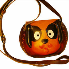 Small Genuine Leather Cross Body Shoulder Bag, A Lovely Doggy Pattern