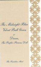 COA for Midnight Blue Velvet Ball Gown FM Diana doll Ensemble Certificate ONLY
