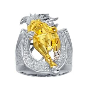 Men's Sterling Silver Horseshoe Ring w/CZ Stones & Yellow Gold Plated Horse