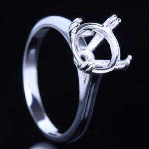 9mm Round Shape Sterling Silver Solitaire Ring Semi Mount Setting Double Prongs