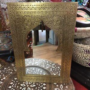 Moroccan Hand Engraved  Small Mirror 35x24cm(Gold Colour Colour)