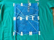"""Adidas """"Fast Makes Fame"""" mens XL green T-Shirt  w/football field in background"""