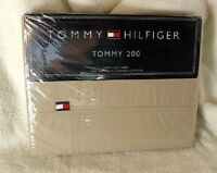 TOMMY HILFIGER Tommy 200 TWIN Size Flat Cotton Bed Sheet KHAKI NEW NWT