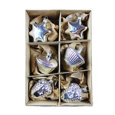 6 Weihnachts Ornamente Glas silber #18 Weihnachtsbaumkugeln mundgeblasen Lauscha