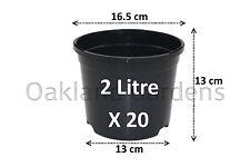 20 x 2 litri per piante vasi di plastica resistente nero vaso di fiori L LT di alta qualità